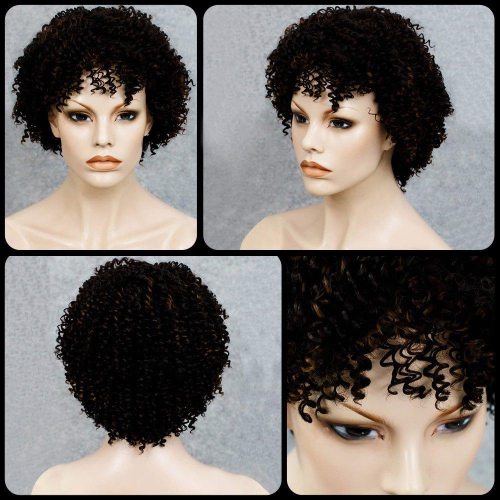 Stylish Black Mixed Synthetic Shaggy Afro Curly Women's Capless Wig - COLORMIX