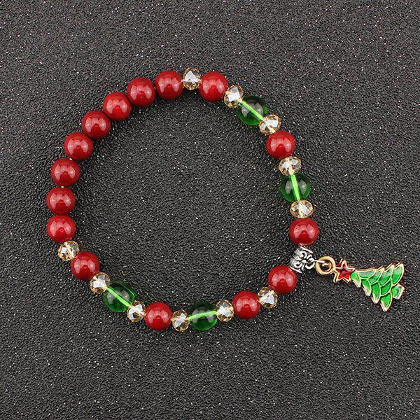 Christmas Tree Star Charm Beads Bracelet - RED