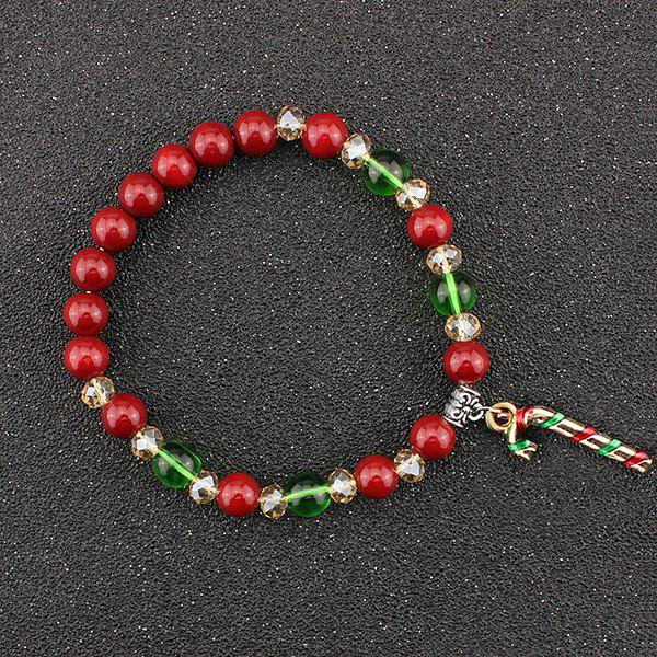 Christmas Candy Cane Charm Beads Bracelet - RED