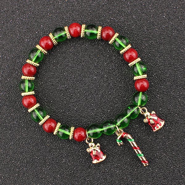 Christmas Bells Candy Cane Charm Beads Bracelet - GREEN