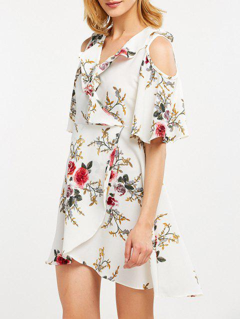 e05a66a833 41% OFF] 2019 Floral Print Flounce Cold Shoulder Dress In WHITE ...