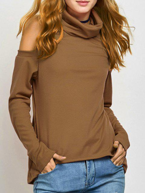 Turtle Neck Cold Shoulder Knitwear - KHAKI S
