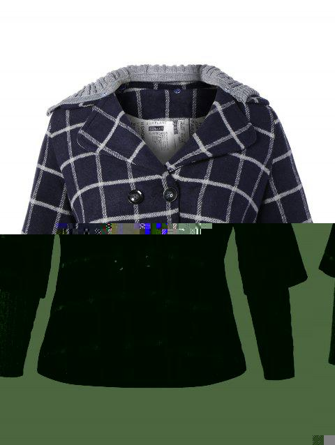 92b420bde0d 2019 Plus Size Double Breasted Plaid Hooded Coat In CADETBLUE XL ...