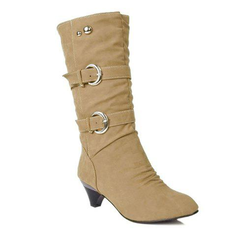 Metallic Buckle Suede Slip On Mid Calf Boots - CAMEL 38