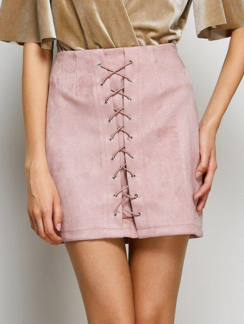 Faux Suede Lace Up Bodycon Skirt