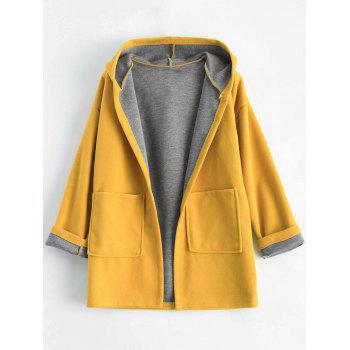 Plus Size Hooded Candy Color Long Open Front Coat