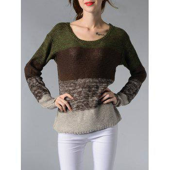Chic Scoop Neck Long Sleeve Color Block Women's Sweater