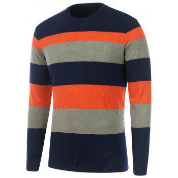 Rhombus Pattern Striped Crew Neck Sweater
