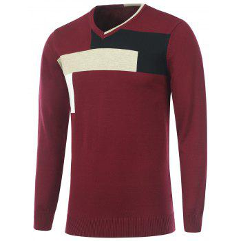 Knitted Color Matching V Neck Sweater