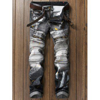 Rib Panel Paint Splatter Zippered Straight Jeans