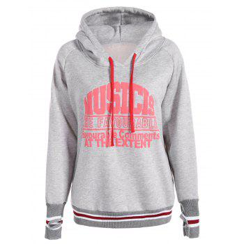 Pullover Varsity Striped Graphic Hoodie