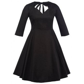 Plus Size V Neck Hollow Out Swing Dress