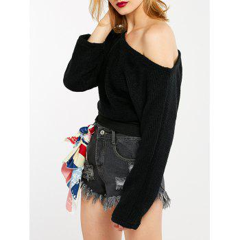 Skew Neck Crop Sweater