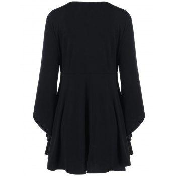 Lace Up Plus Size Peplum Blouse - BLACK BLACK
