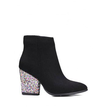 Chunky Heel Zipper Glitter Ankle Boots