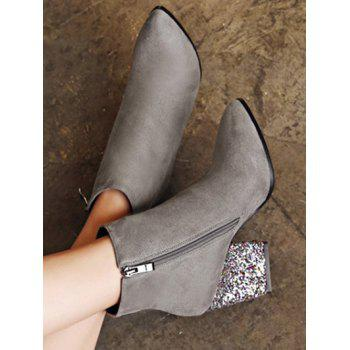 Chunky Heel Zipper Glitter Ankle Boots - 39 39