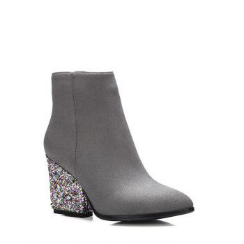 Chunky Heel Zipper Glitter Ankle Boots - GRAY 39