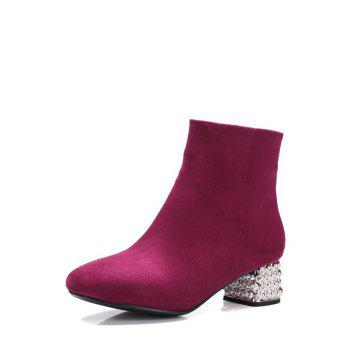 Zipper Square Toe Rhinestones Ankle Boots - 39 39