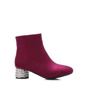 Zipper Square Toe Rhinestones Ankle Boots - BURGUNDY 39