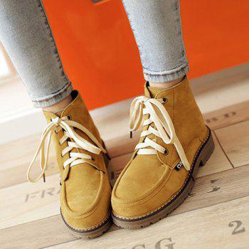 Lace Up Vintage Ankle Boots - YELLOW YELLOW