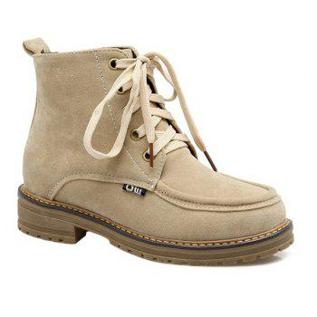 Lace Up Vintage Ankle Boots - BEIGE 39