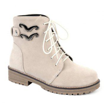Metal Lace Up Ankle Boots - BEIGE 39