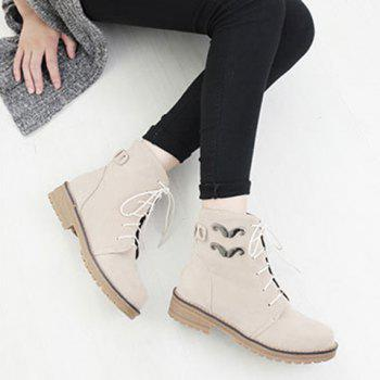 Metal Lace Up Ankle Boots - BEIGE BEIGE