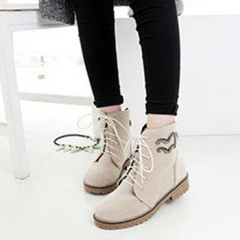 Metal Lace Up Ankle Boots - 39 39