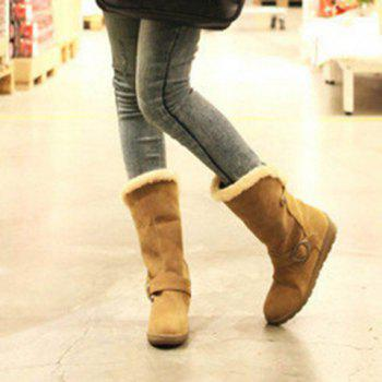 Buckle Strap Faux Fur Mid Calf Boots - YELLOW YELLOW