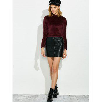 Fuzzy Cropped Pullover Sweater - MERLOT S