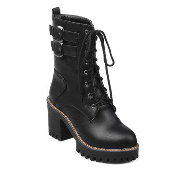 Lace Up Buckles Ankle Boots