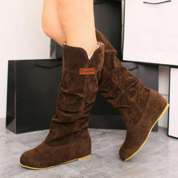 Suede Ruched Mid Calf Boots - BROWN BROWN