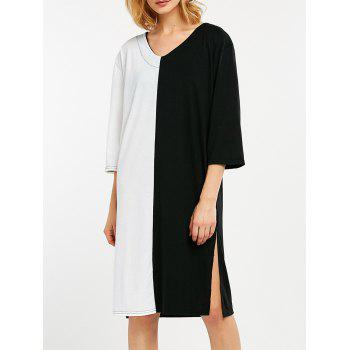 Casual Color Block Side Slit Straight Dress - WHITE AND BLACK WHITE/BLACK