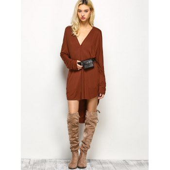 High-Low Loose Long Sleeve Dress - M M