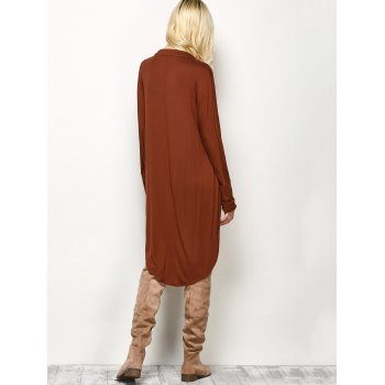Plunge Long Sleeve High Low Casual Dress - M M