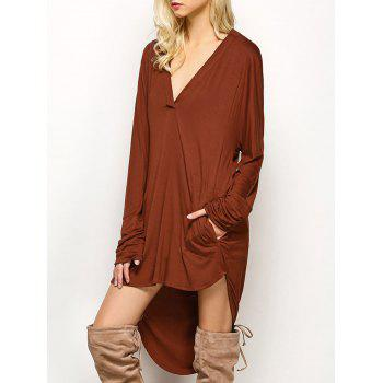 Plunge Long Sleeve High Low Casual Dress - BROWN M