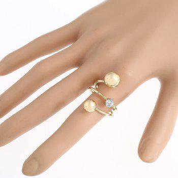 Rhinestone Inlay Electroplate Spiral Ring - GOLDEN ONE-SIZE