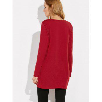 Long Sleeve Letter Print Loose Tee - RED RED