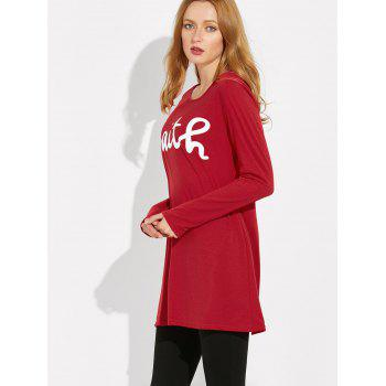 Long Sleeve Letter Print Loose Tee - L L