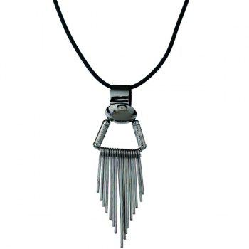 Metallic Fringed Pendant Necklace - SILVER SILVER