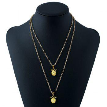 Double Layered Pendant Necklace -  GOLDEN