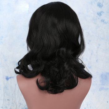 Medium Centre Parting Curly Synthetic Wig -  BLACK