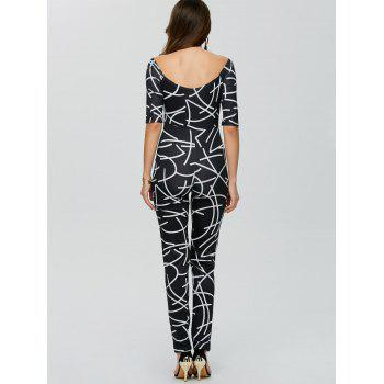Off The Shoulder Printed Bodycon Jumpsuit - BLACK BLACK