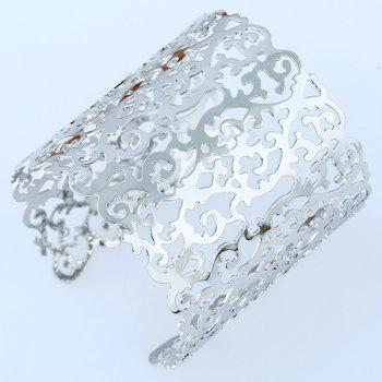 Hollowed Filigree Cuff Bracelet - SILVER SILVER