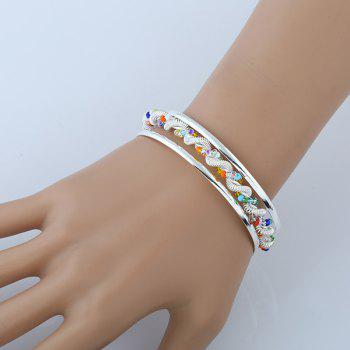 Hollow Out Twisted Spring Beaded Cuff Bracelet - SILVER SILVER