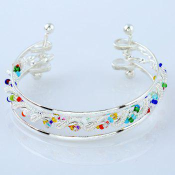 Hollow Out Twisted Spring Beaded Cuff Bracelet -  SILVER