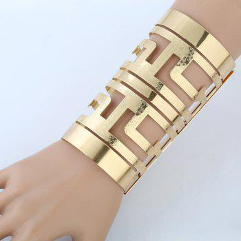 Cut Out Metal Long Open Cuff Bracelet