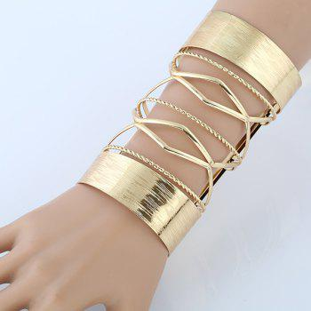 Hollow Out Cable Wire Long Open Cuff Bracelet - GOLDEN GOLDEN