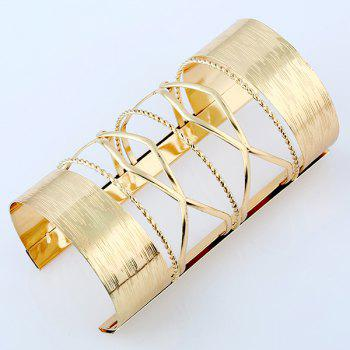 Hollow Out Cable Wire Long Open Cuff Bracelet -  GOLDEN