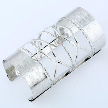 Hollow Out Cable Wire Long Open Cuff Bracelet